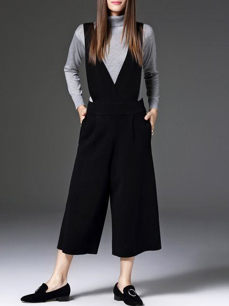 Black Knitted Wide Leg Pants Casual Plain Jumpsuit