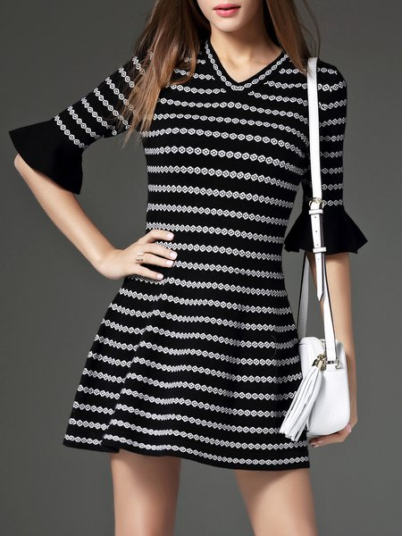 Black Stripes Ruffle Half Sleeve A-line Mini Dress