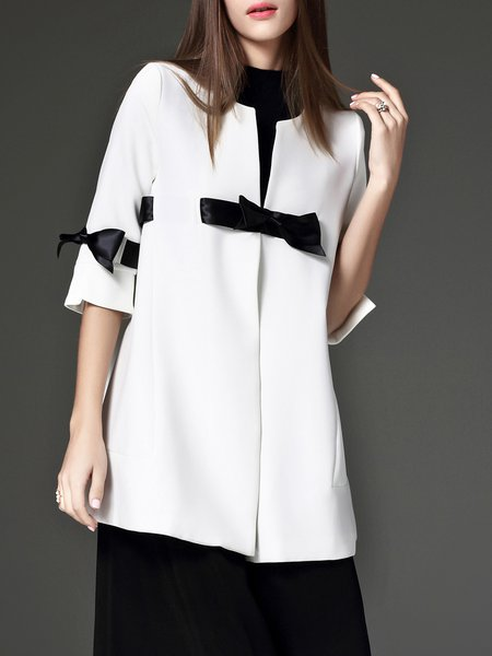 Elegant Bow Plain Shift 3/4 Sleeve Coat