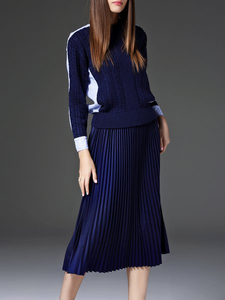 Navy Blue Paneled Casual Stripes Pleated Midi Dress