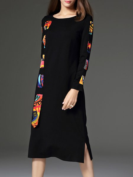 Black Printed Casual Color Block Slit Midi Dress