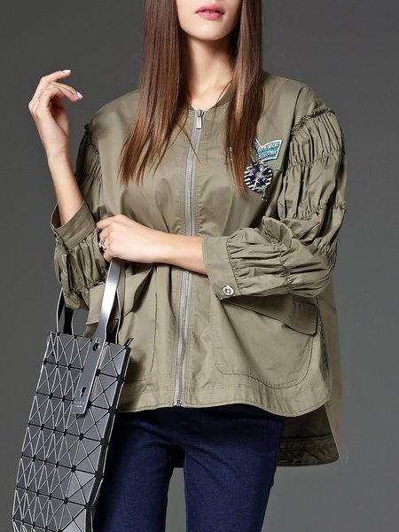 Shift Balloon Sleeve Asymmetric Casual Cropped Jacket