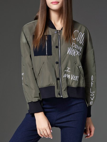 Green Letter Embroidered Long Sleeve Cropped Jacket