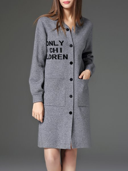 Gray V Neck Letter Shift Buttoned Casual Coat