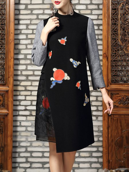 Black Embroidered Asymmetrical Long Sleeve Midi Dress