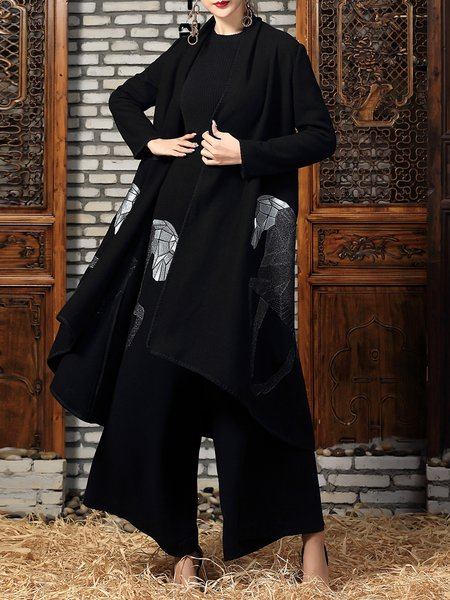 Black Long Sleeve Horse Embroidered Coat