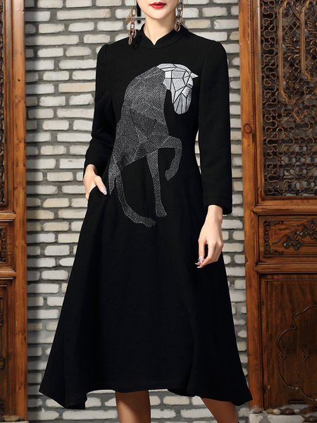 Black Vintage Horse Embroidered Skater Midi Dress