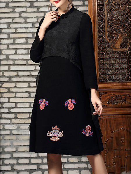 Black Long Sleeve Embroidered A-line Midi Dress