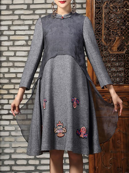 Gray Paneled Elegant Silk Embroidered Midi Dress
