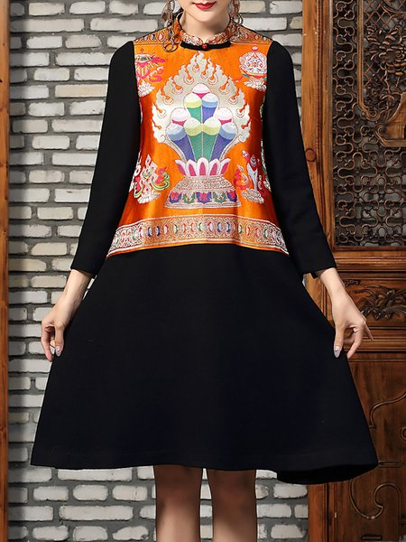 Black Paneled Vintage Tribal Embroidered Midi Dress