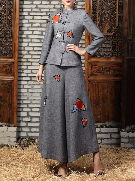 Gray Two Piece Stand Collar Vintage Embroidered Wide Leg Jumpsuit