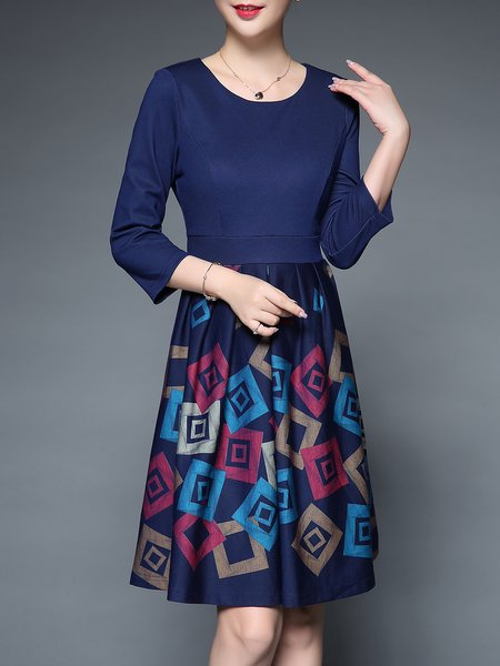 3/4 Sleeve Elegant Printed A-line Midi Dress