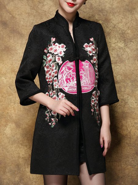 Embossed 3/4 Sleeve Floral-embroidered Coat