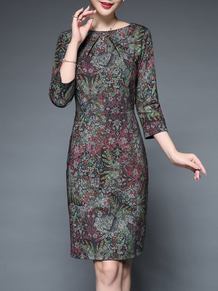 Multicolor Floral-print 3/4 Sleeve Midi Dress