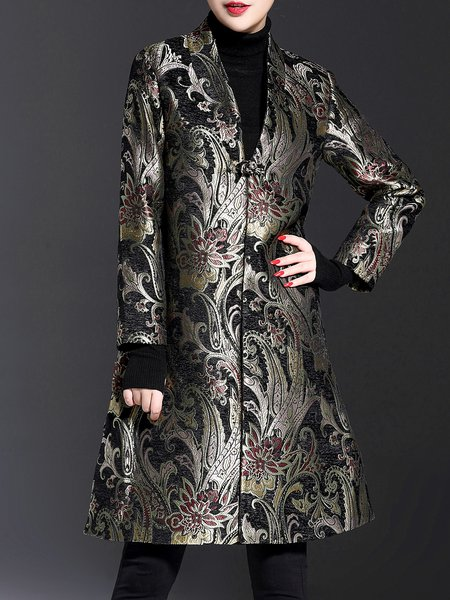 Long Sleeve Floral Stand Collar Jacquard Coat