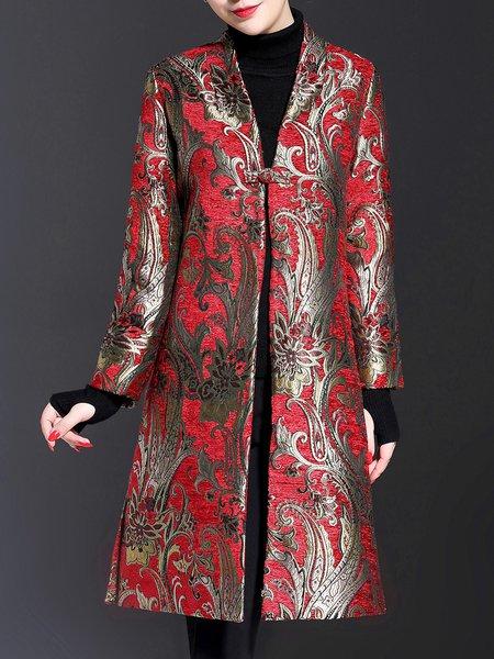 Elegant Long Sleeve Floral Stand Collar Jacquard Coat