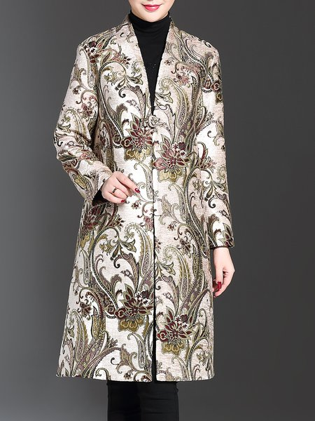 Elegant Polyester Long Sleeve Stand Collar Floral Coat