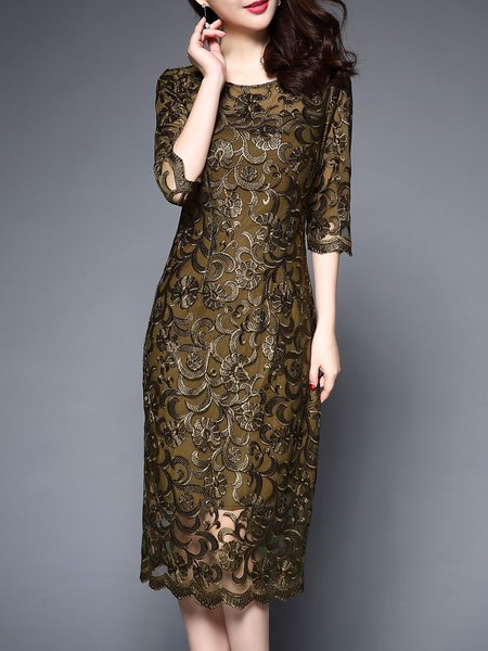 Army Green 3/4 Sleeve Floral-embroidered Floral  Midi Dress