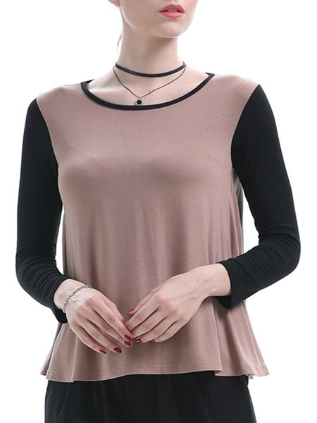 Camel Cotton-blend Crew Neck Casual Long Sleeved Top