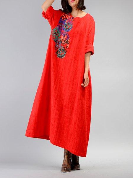 Cotton-blend Embroidered 3/4 Sleeve Linen Dress