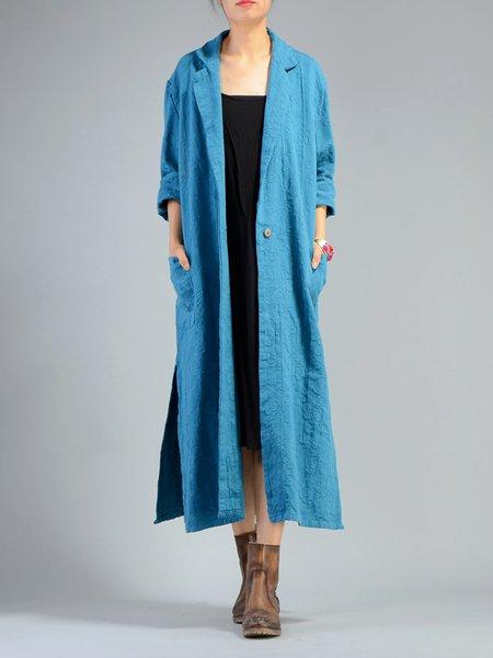 Lapel Casual Cotton-blend Linen Outerwear