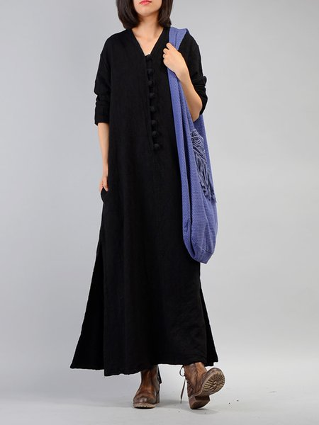 Black Shift Casual V Neck Buttoned Linen Dress
