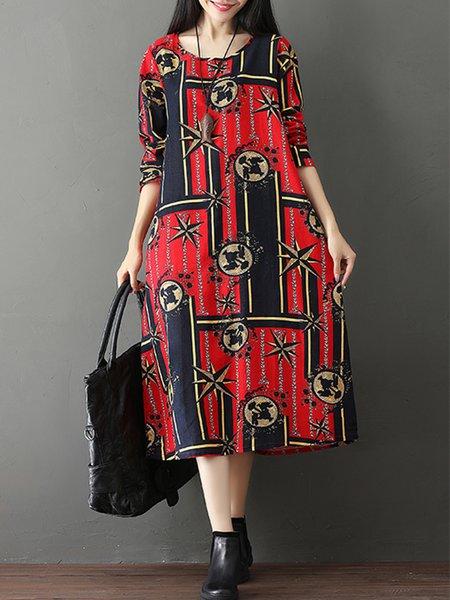 Printed Casual Crew Neck Linen Dress