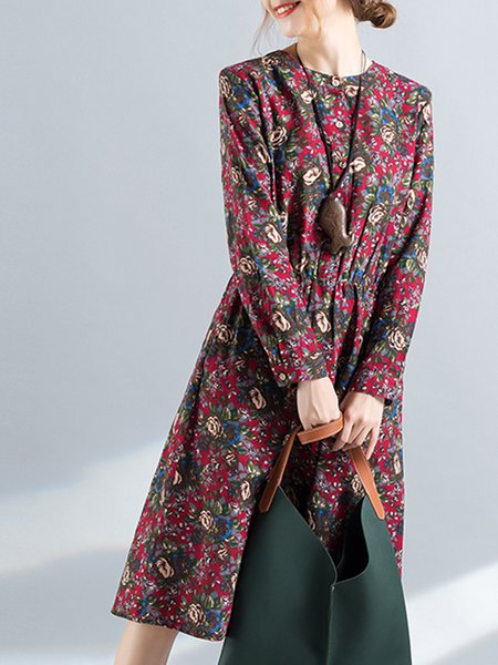 Casual Printed Linen Dress