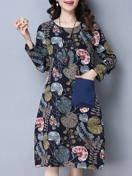 Cotton Casual Abstract Crew Neck Linen Dress