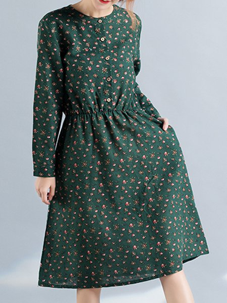 Long Sleeve Buttoned Crew Neck Cotton Linen Dress