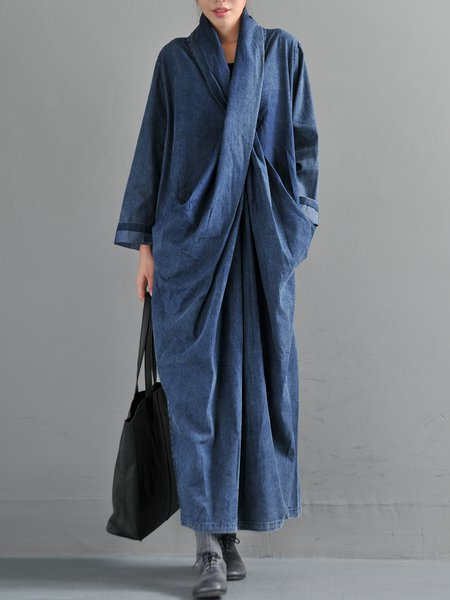 Plus Size Blue Long Sleeve Slit Dress
