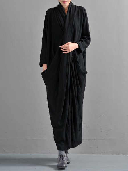 Black Casual Shift Printed Linen Dress