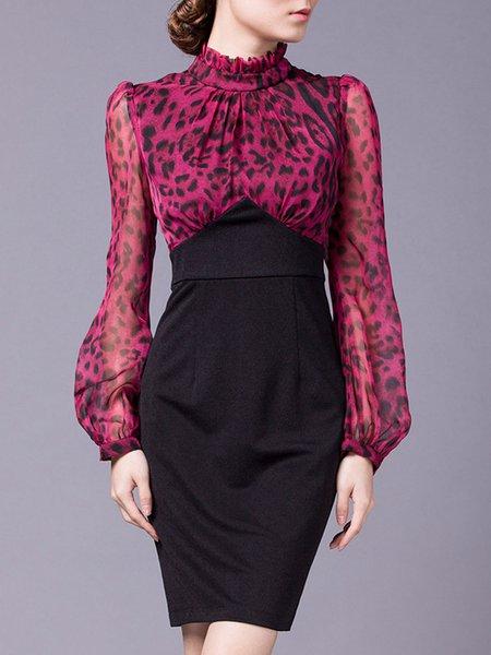Purple Paneled Balloon Sleeve Leopard Print Spandex Midi Dress