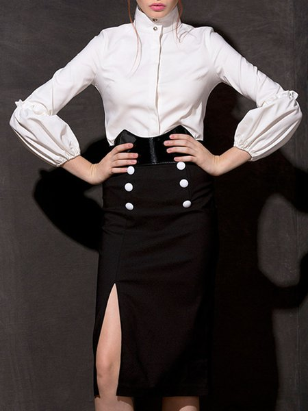 White-black Slit Cotton-blend Two Piece Elegant Top With Skirt