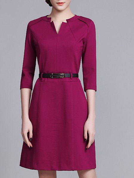 Fuchsia 3/4 Sleeve V Neck Pockets Solid Midi Dress