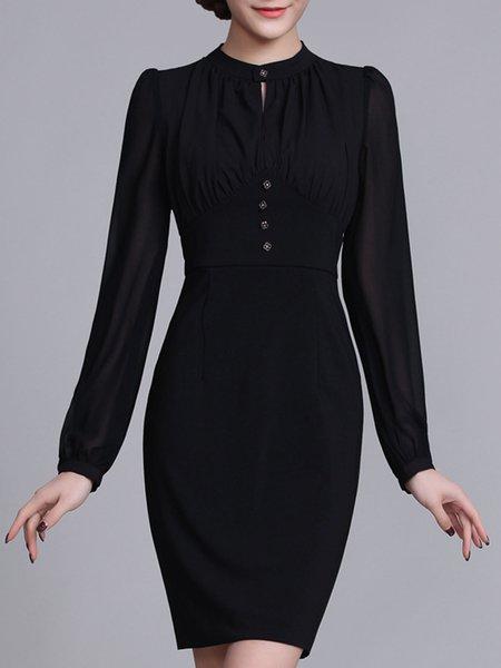 Black Long Sleeve Stand Collar Midi Dress