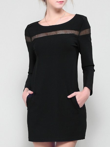 Black Spandex Long Sleeve Paneled Crew Neck Mini Dress
