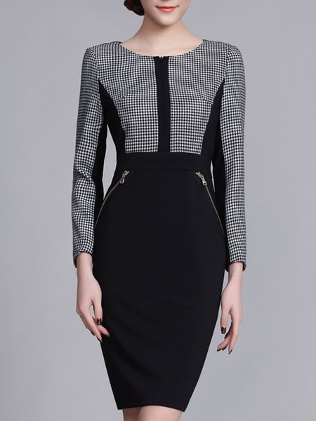 Black Sheath Long Sleeve Cotton Midi Dress