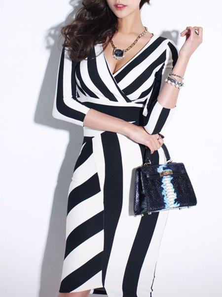 Black-white Casual Surplice Neck Stripes Midi Dress
