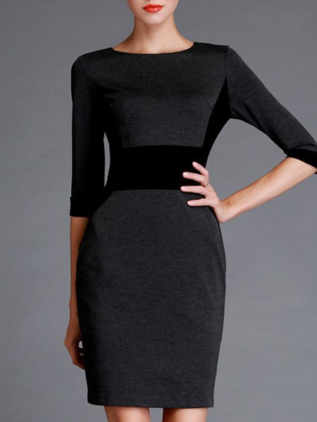 Deep Gray Elegant Crew Neck Midi Dress