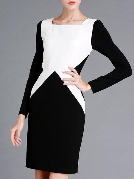 Black-white Square Neck Elegant Midi Dress