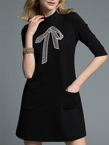 Casual Nylon Embroidered Crew Neck Half Sleeve Midi Dress