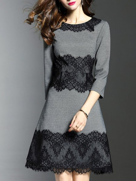 Crew Neck Elegant A-line Cotton 3/4 Sleeve Midi Dress