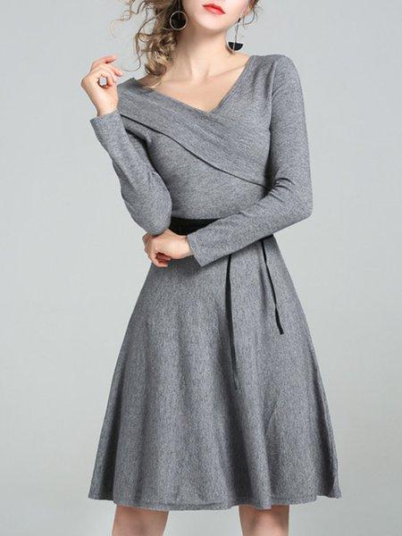 Gray A-line Long Sleeve Wrap Surplice Neck Midi Dress