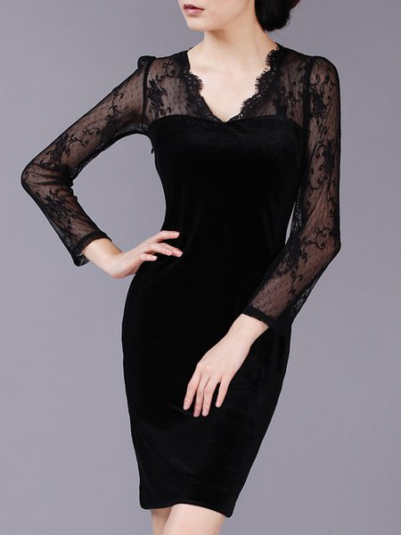 Elegant Long Sleeve Lace Sheath Midi Velvet Dress