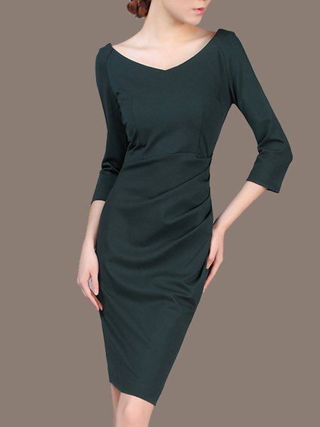 3/4 Sleeve Elegant Solid Nylon Midi Dress