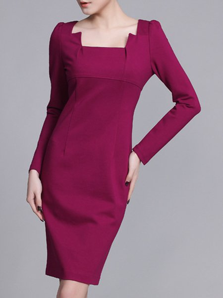 Fuchsia Long Sleeve Sheath Solid Square Neck Midi Dress
