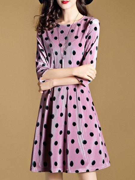 Deep Pink Polka Dots Elegant Midi Dress