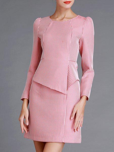 Pink Long Sleeve Crew Neck Gingham Sheath Midi Dress