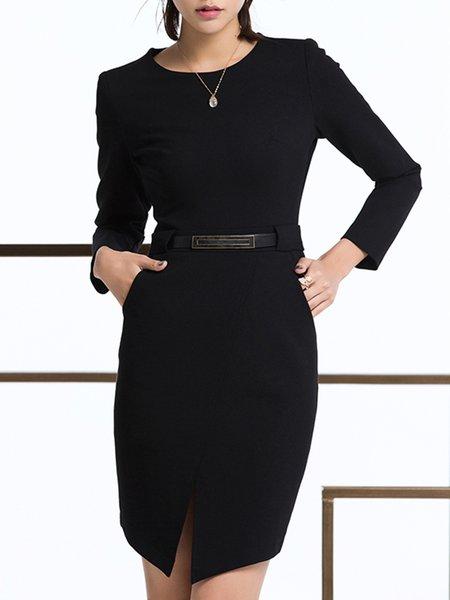 Black Slit Solid Long Sleeve Sheath Midi Dress With Belt